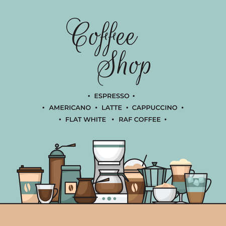 Coffee banner. Cup and coffee brewing methods. Coffee makers and coffee machines, kettle, french press, moka pot, cezve. Flat style, vector illustration. Stock fotó - 155793814