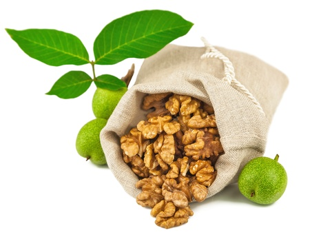 Macro view of purified walnut in flax sack and green walnut fruit isolated on white background