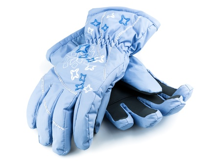 Winter blue gloves isolated on white background