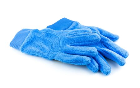 Bright blue gloves isolated on white background Stock Photo