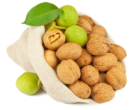 Macro view of whole walnut in flax sack and green walnut fruit isolated on white background photo