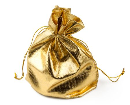 Gift golden bag with a surprise isolated on white background