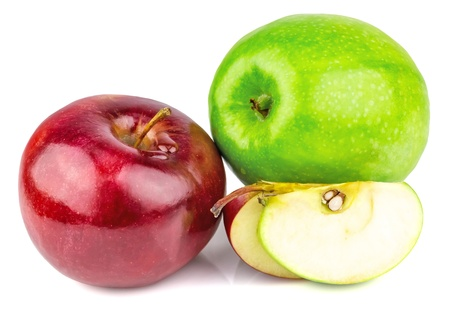 Fresh green and red apples with drops isolated on white background Stock Photo