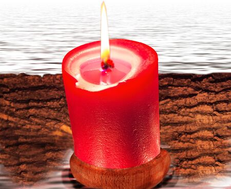 Composition from red candle, bark and water