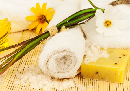 Macro view of bath towel with sea salt, oil, flowers and plant on the mat Stock Photo