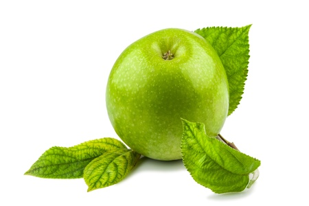 Macro view of green apple with green leaves isolated on white background Stock Photo