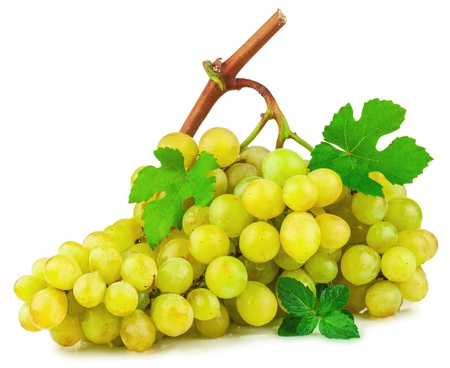 Bunch of grapes with green leaves isolated on white background Stock Photo