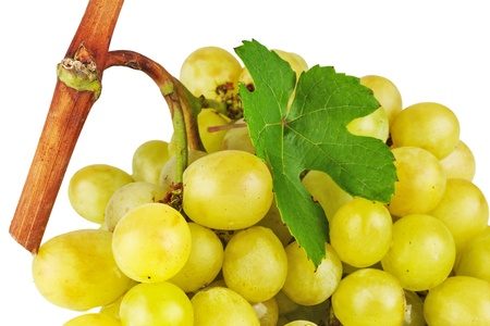 Bunch of grapes with green leaf isolated on white background Stock Photo