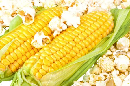 Macro view of maize and popcorn Stock Photo