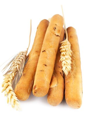 Breadsticks with ears isolated on white background