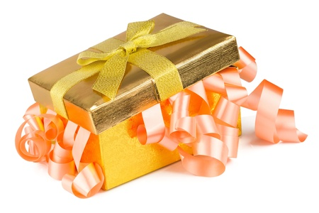 Golden box with bow and pink  ribbons isolated on white background Stock Photo