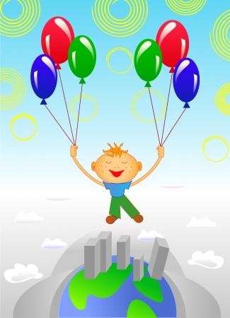 Balloon flight around the world Stock Vector - 18082836
