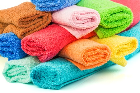 Macro view of stack of colorful towels Stock Photo
