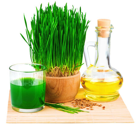 Wheatgrass juice with sprouted wheat and wheat germ oil on the mat isolated on white background