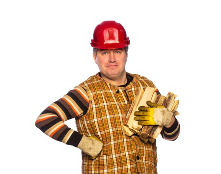 Portrait of adult carpenter in helmet in studio isolated on white background photo