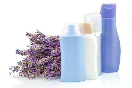 Body care products with lavender isolated on white background Stock Photo
