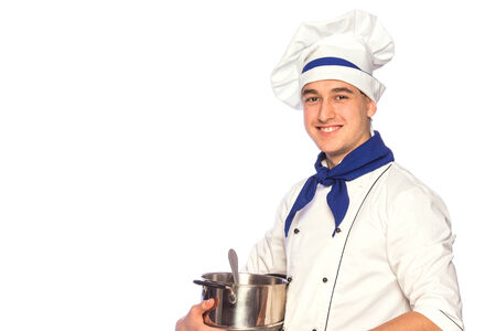 Portrait of smiling cook chef with kitchenware isolated on white background