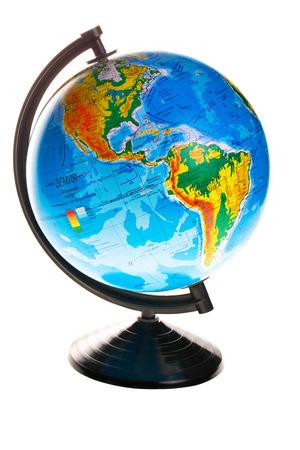 revolve: Terrestrial globe isolated on white background Stock Photo
