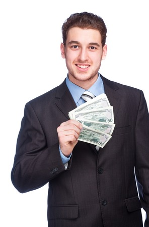 lucky man: Lucky man with money isolated on white background