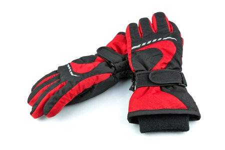 Ski black-and-red gloves isolated on white background