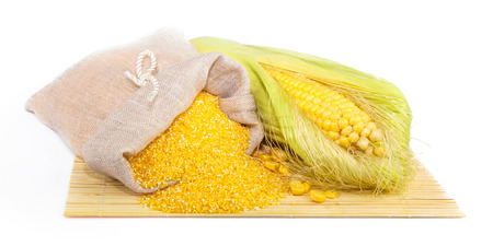 maize flour: Composition from corn, maize flour in sack on the mat isolated on white background