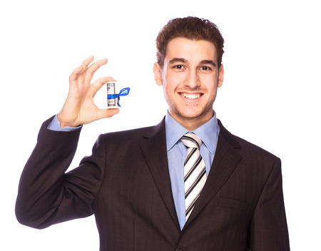 Happy man with money isolated on white background Stock Photo