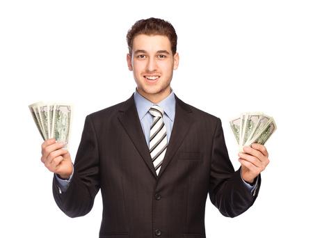 흰색 배경에 고립 된 돈 행운의 남자