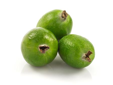 Macro view of feijoa fruit isolated on white background