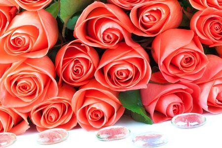 Bouquet of pink roses with drops isolated on white background Stock Photo