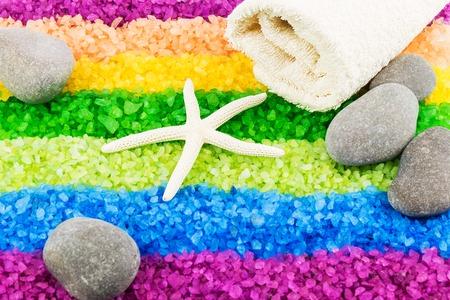 sea star: Color sea salt rainbow with sea star, stones and bath towel