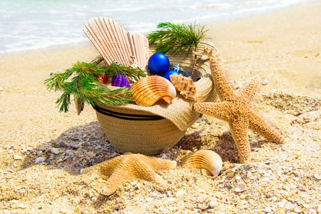 straw twig: Christmas decoration with Christmas twig, shells, fan in the straw on the beach Stock Photo