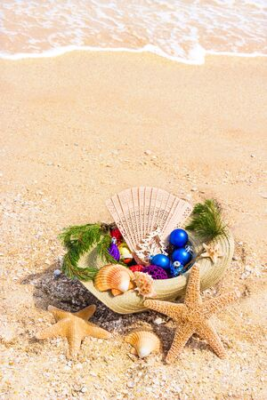 straw twig: Christmas decoration with Christmas twig, shells, fan in the straw on the beach background