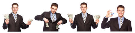 lucky man: Lucky man with money, set isolated on white background Stock Photo