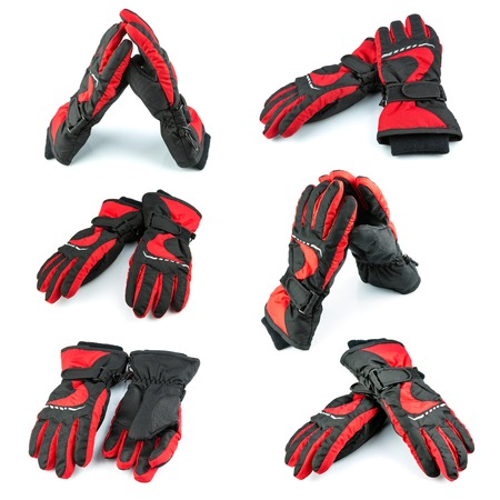 black gloves: Red and black gloves isolated on white background, set