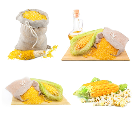 maize flour: Composition from corn, oil and maize flour in flax sack on the mat isolated on white background, set Stock Photo