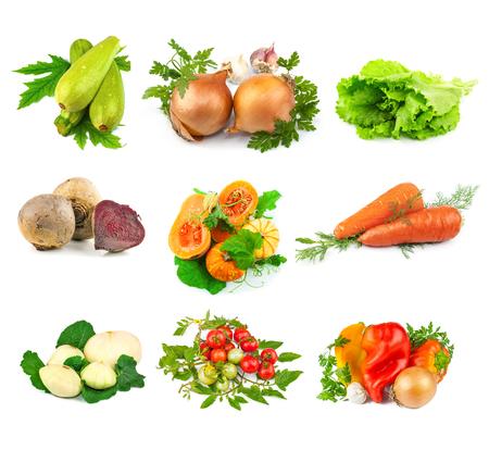 bulb and stem vegetables: Set of fresh vegetables isolated on white background Stock Photo