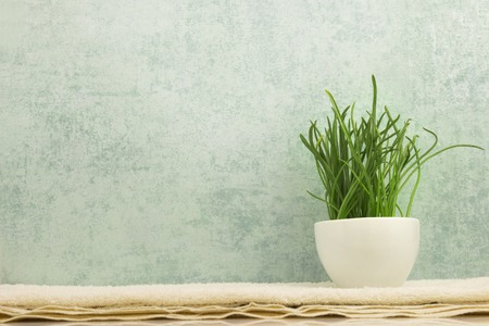 blue grey: Spa concept with fresh grass in bowl on towel on grey background