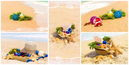 fir twig: Macro view of christmas balls with fir twig on sand and sea, set