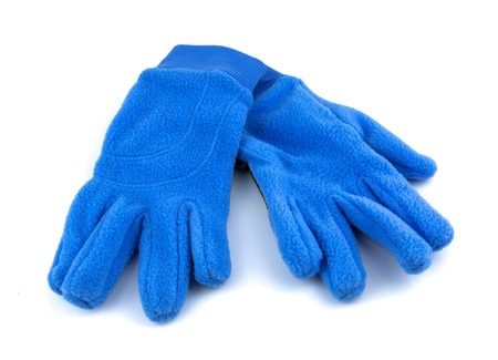fleece: Blue sport gloves isolated on white background