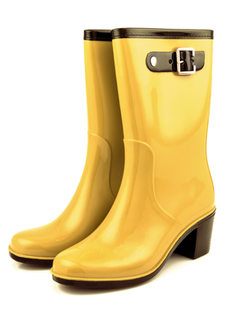 clasp feet: Yellow rubber boots isolated on white background