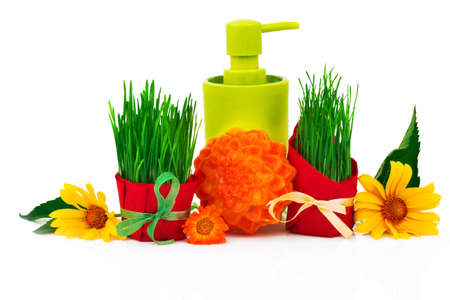 Spa beauty concept with soap, plastic bottle, fresh grass with ribbon, flowers and green leaves isolated on white background.