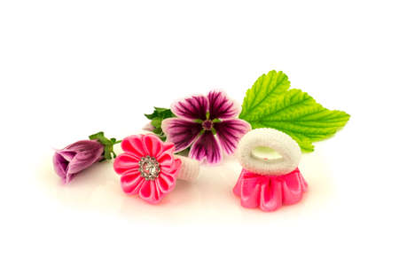 Barrette with pink ribbon and elastic, natural purple flowers and green leaf isolated on white background.