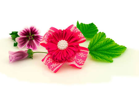 Barrette with elastic and pink ribbon, natural purple flowers and green leaf isolated on white background.