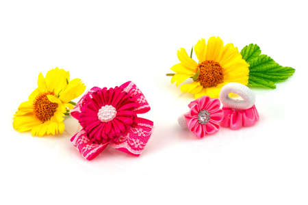 Barrette with pink ribbon and elastic, natural yellow flowers and green leaf isolated on white background.