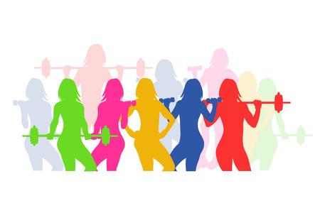 fitness emblem, woman silhouette, vector illustration Vectores