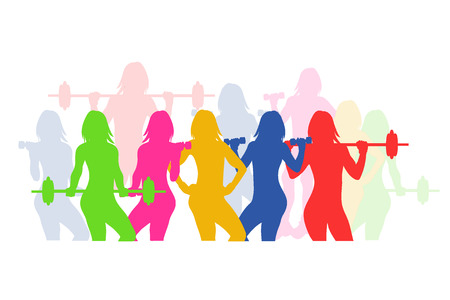 fitness emblem, woman silhouette, vector illustration Vettoriali