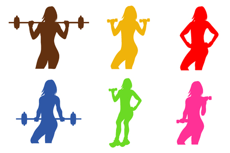 health and fitness: fitness emblem, woman silhouette, vector illustration Illustration