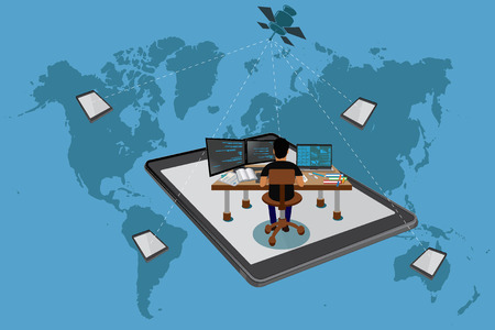 independent contractor: Freelance concept, global, world map, vector