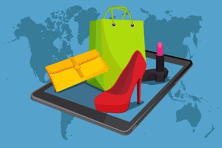 E-commerce. Online internet shopping, fashion, vector illustration