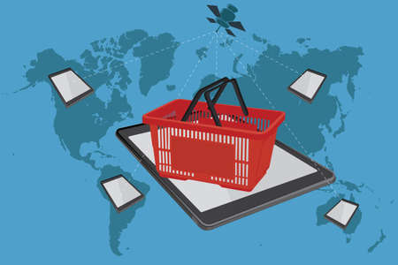 Shopping basket, ecommerce, online shopping, vector illustration